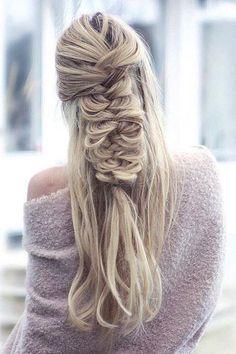 Half Updo Fishtail Braid Wedding Hairstyle - Deer Pearl Flowers / http://www.deerpearlflowers.com/wedding-hairstyle-inspiration/half-updo-fishtail-braid-wedding-hairstyle/