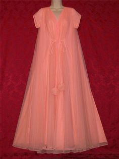 Peignoir and Gown XL Delicates Red Long Black Lace Trim Vintage Lingerie