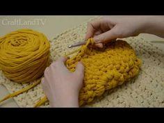 Вязание крючком из трикотажной пряжи. Клатч с цветочным узором - YouTube
