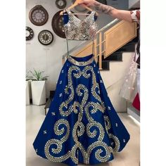 Lehenga Choli : Navy blue taffeta silk cording embroidered ...