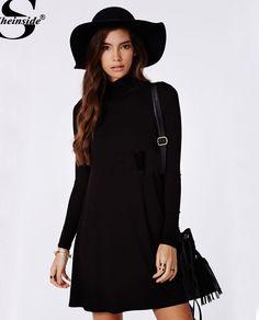 Sheinside Black Long Sleeve Casual Dress Beauty Women Lady Party Shift Dress #Sheinside #Casual #Casual