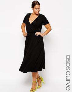 Enlarge ASOS CURVE Midi Skater Dress with Wrap Front