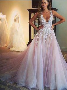 Deep V Neck Prom Dress,Floral Prom Dress,Fashion Bridal
