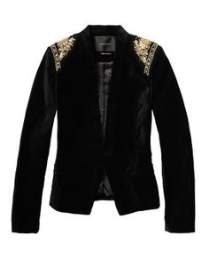 Velvet Blazer With Baroque Inspired Shoulders > Womens Clothing > Blazers at Maison Scotch