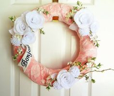 Cotton and Lace -  Felt and Fabric Wreath -  Shabby Chic Door Decoration in Pink and White - Nursery or Home Decor via Etsy