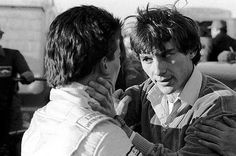 Formula Ford 1600 Championship Second place finisher Ayrton Senna da Silva (BRA) (right) has a heated conversation with race winner Enrique Mansilla (ARG) (left) following a tough duel on the track. - Townsend Thoresen Formula Ford 1600 Championship, Mallory Park, England, 22 March 1981. - © Sutton Motorsport Images
