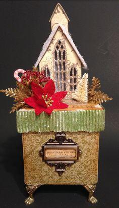Glitte House~Glitter Church~Vintage Putz House~Christmas Wish Box~Christmas Box~Vintage Christmas Decor~Gold Christmas~Gold Glitter House~ by ThePokeyPoodle on Etsy