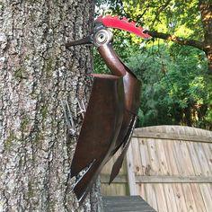Woodpecker Sculpture made from scrap metal.