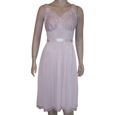 Vintage Pink Flirty Nylon and Lace Short Nightgown Negligee @rubylanecom #vintagebeginshere #vintage