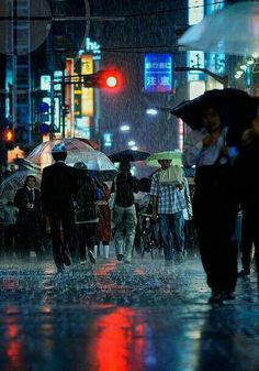 Amazing & Beautiful Photos from Tokyo, Japan - Stunning Architecture Photography from the East Walking In The Rain, Singing In The Rain, Umbrella Photography, Street Photography, White Photography, Minimalist Photography, Rainy Night, Rainy Days, Night Rain