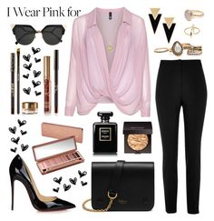 """""""I Wear Pink For"""" by apollinariya-664 ❤ liked on Polyvore featuring Manon Baptiste, River Island, Christian Louboutin, Mulberry, Fendi, Yves Saint Laurent, Michael Kors, Bohemia, Laura Mercier and Urban Decay"""