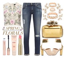 """Street Style Chic - Spring Florals"" by latoyacl ❤ liked on Polyvore featuring Needle & Thread, AG Adriano Goldschmied, Maybelline, Forever 21, KIM MEE HYE, Fendi, Too Faced Cosmetics, Universal Lighting and Decor, Jimmy Choo and Bonheur"