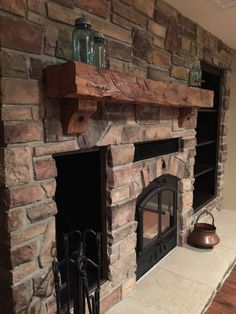 Custom Stone Fireplace with Shelves, cupboard, and wood box ...