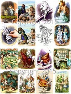 Alice in Wonderland # 1 by John Tenniel   Collage Sheet