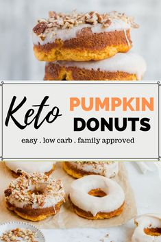 Looking for a Fall inspired keto donut to dunk in your morning coffee? Try this Keto Pumpkin Spice Donut recipe. This is a low carb version of the old fashioned cake donut with a pumpkin twist. Keto Friendly Desserts, Low Carb Desserts, Low Carb Recipes, Healthy Recipes, Healthy Treats, Healthy Foods, Pumpkin Spice Donut Recipe, Pumpkin Recipes, Fall Recipes