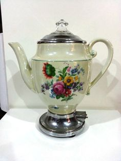 Antique Porcelain Electric Coffee or Tea Maker by DeAnnasAttic