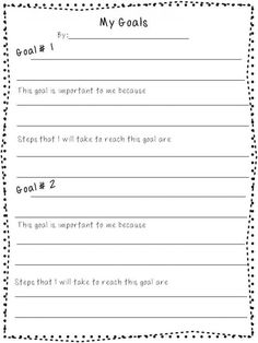 Printable Worksheets For Back To School Goal Setting  Goal Charts