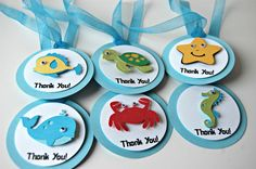 Swim on over and party Under the Sea! Favor tags are a great way to thank your party guests for celebrating with you. You will receive 12 die cut, layered, googly-eyed favors tags. Each inch tag i 3rd Birthday Parties, Birthday Party Favors, Birthday Fun, Birthday Ideas, Little Mermaid Birthday, Little Mermaid Parties, Birthday Return Gifts, Octonauts Party, Party Favor Tags