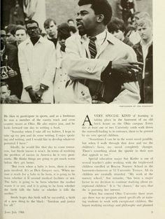 "Ohio Alumnus, June-July 1968. ""'Society seems to strike down everyone who articulates justice and tolerance and truth.' Jim Steele uttered those words three days before the death of Dr. Martin Luther King. Now Steele is even more convinced of their truth."" In image Steele is speaking at the demonstration following MLK's death as protesters sat in the intersection of Court and Union. :: Ohio University Archives"