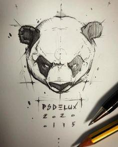 by psdelux Animal Sketches, Animal Drawings, Pencil Art Drawings, Drawing Sketches, Panda Sketch, Arte Final Fantasy, Panda Art, Car Design Sketch, Ink Illustrations