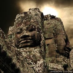 """One of the many """"face sculptures"""" found at Bayon, Ankor Thom, Cambodia."""