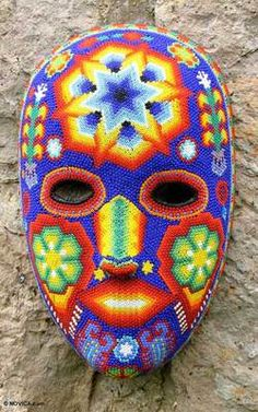 Star Man Mexican Estrella Huichol Indian Hand Beaded Mask Art Novica New | eBay