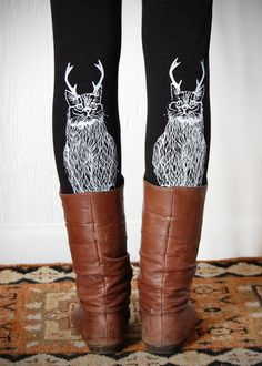 Wild Catalope Leggings - Womens Black Jersey Spandex High Waist Cat wild catalope Leggings - White and Black - by Bark Decor. $29.00, via Etsy.