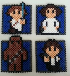 Star Wars Perler. Luke, Leia, Chewie (Chewbacca), Han Solo. Not sure of original creator.