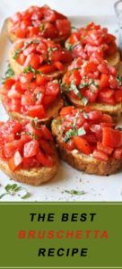 This simple bruschetta recipe will want you to have them as the main meal instead of the appetizers. INGREDIENTS: 2 cups ripe cherry or grape tomatoes Kosher salt and freshly ground black pepper Extra-virgin olive oil For
