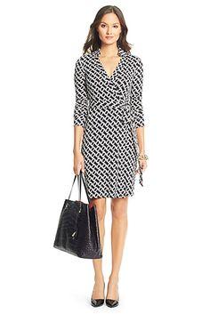 DVF New Jeanne Two Silk Jersey Wrap Dress In Chain Link Medium
