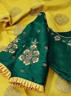 Saree Jacket Designs, Wedding Saree Blouse Designs, Pattu Saree Blouse Designs, Blouse Neck Designs, Sleeve Designs, Blouse Styles, Embroidery Works, Embroidery Designs, Saree Gown