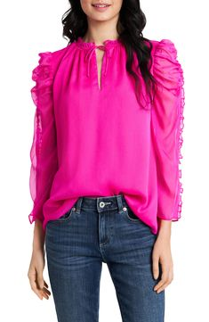Hot Pink Blouses, Hot Pink Tops, Tie Neck Blouse, Ruffle Blouse, Ulla Johnson, Blouse Styles, Spring Outfits, Blouses For Women, Casual Outfits