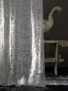 Confetti Fabric on a shear lace curtain #andrewmartin #favouritefabrics