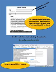 FREE - Automated Comment Generator for GROUP WORKSave yourself time with this FREE group work comment generatorAutomated comment generator for students' group work and presentations.This document has been devised to help the teacher evaluate students group work (such as skits, presentations.).
