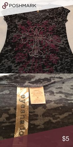 Blingy Burnout Cross Tee By Eyeshadow..Sz M. Adorable burnout tee with blingy cross. Worn, but still has plenty of life left! Eyeshadow Tops Tees - Short Sleeve