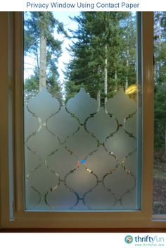 Privacy window, using contact paper - I decided that I didn't want to use curtains on our bathroom window so I was trying to find an alternative. I looked at the window films that they sell and didn't like how expensive they were.