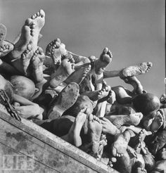 World War II: Barbarism Comes to Light  Margaret Bourke-White took hundreds of photographs when she accompanied U.S. troops liberating the Buchenwald concentration camp in the spring of 1945, but none of those images showed more clearly the murderous barbarity of Nazi war crimes than this one picture: scores of corpses -- human beings starved, beaten, and literally worked to death -- stacked like cordwood in the April sun.
