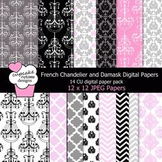 French Chandelier and Frames Elements. Great for invitations, cards, and paper goods. Paper Background, Background Patterns, French Chandelier, Pattern Paper, Paper Patterns, Scrapbook Paper, Scrapbooking, Paper Design, Paper Goods