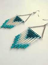 Beaded Chevron Earrings Blue with