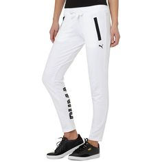 Puma STYLE Swagger Sweatpants featuring polyvore, women's fashion, clothing, activewear, activewear pants, white, cotton sweatpants, puma sportswear, puma activewear, drawstring sweat pants and sweat pants