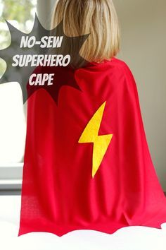 "Sewing For Kids Make a DIY no-sew superhero cape for kids - Time for a little fun and imagination with a new no-sew superhero cape! This DIY tutorial is ""super"" quick and easy to make. Diy Cape, No Sew Cape, Superhero Capes For Kids, Diy Superhero Costume, Kids Capes, Sewing Projects For Kids, Sewing For Kids, Diy For Kids, Kids Fun"