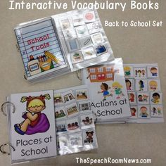 I love interactive books. They are really great for minimally verbal students. They can show their knowledge without needing to verbally produce answers. For kids just learning to express themselves in single words or simple Autism Activities, Language Activities, Book Activities, Speech Language Therapy, Speech And Language, Speech Therapy, Autism Classroom, School Themes, Vocabulary