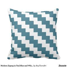Modern Zigzag in Teal Blue and White Throw Pillow