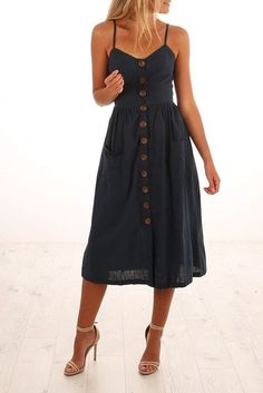Casual navy dress with buttons down the front and high heels. - Casual navy dress with buttons down the front and high heels. Spring dress, spring outfit Source by - Spring Dresses Casual, Trendy Dresses, Fashion Dresses, Dress Casual, Spring Clothes, Dresses Dresses, Casual Clothes, Women's Summer Dresses, Shoes For Dresses