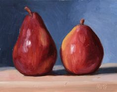 Red Pears Daily Painting, original oil painting still life on plywood by Aleksey Vaynshteyn