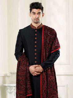 Black Achkan Sherwani With embroidered shawl/Designer black sherwani in italian fabric best for wedding/sabyasachi design sherwani Indian Wedding Clothes For Men, Sherwani For Men Wedding, Sherwani Groom, Indian Wedding Outfits, Punjabi Wedding, Indian Weddings, Couple Wedding Dress, Groom Wedding Dress, Wedding Suits