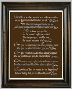 ADOPTION POEM PRINT - Two Different Types of Love - You Choose the Custom colours - Nursery Art - Adoption Gift -. $12.00, via Etsy.