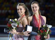 Rostelecom Cup 2016: Elena Radionova (silver medalist) and Anna Pogorilaya (gold medalist) of Russia