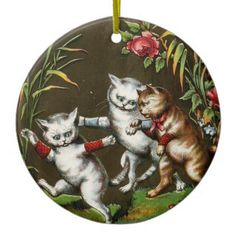 #Vintage Cats No. 1 Ceramic Ornament - #Xmas #ChristmasEve Christmas Eve #Christmas #merry #xmas #family #holy #kids #gifts #holidays #Santa