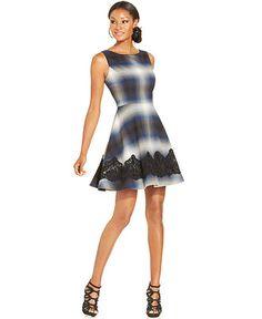 Jessica Simpson Sleeveless Lace-Trim Plaid Dress - Dresses - Women - Macy's